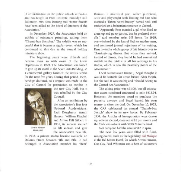 Carmel Art Association: Its Legends and Legacies 1927-2007